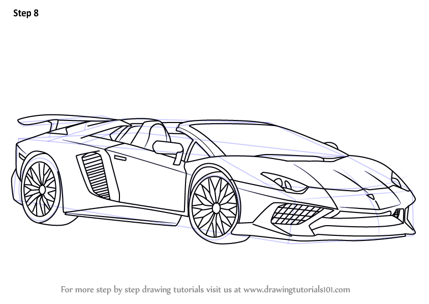 Step By Step How To Draw Lamborghini Aventador Lp750 4 Sv