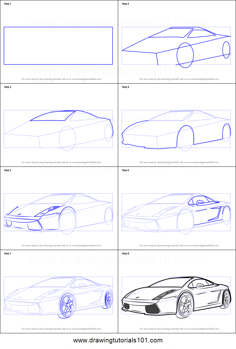 How To Draw A Lamborghini Car Printable Step By Step Drawing Sheet Drawingtutorials101 Com