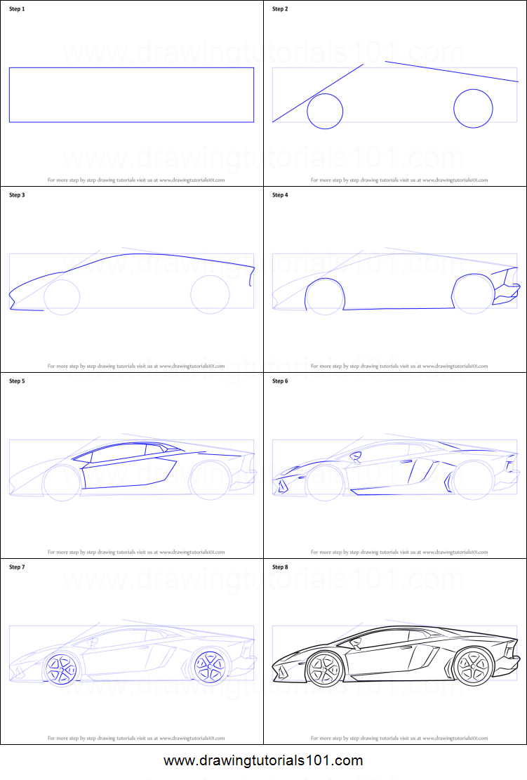How To Draw Lamborghini Centenario Side View Printable Step By Step