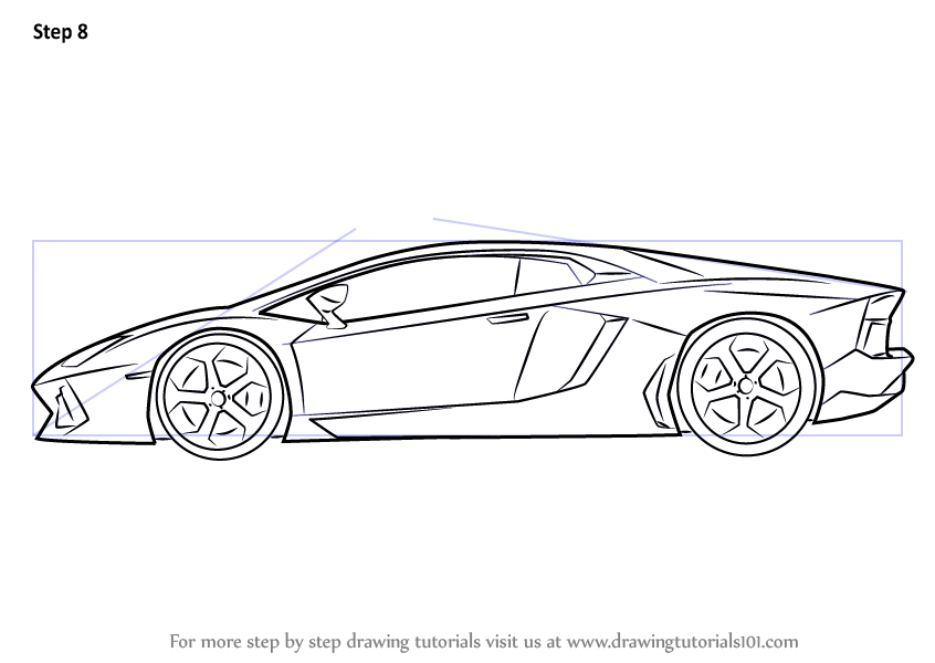 Learn How To Draw Lamborghini Centenario Side View Sports Cars Step By Drawing Tutorials