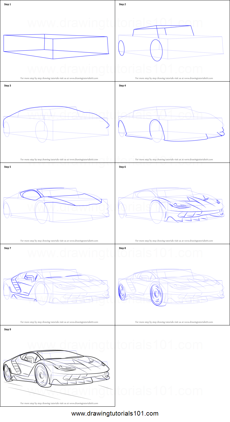 How To Draw Lamborghini Centenario Printable Step By Step Drawing