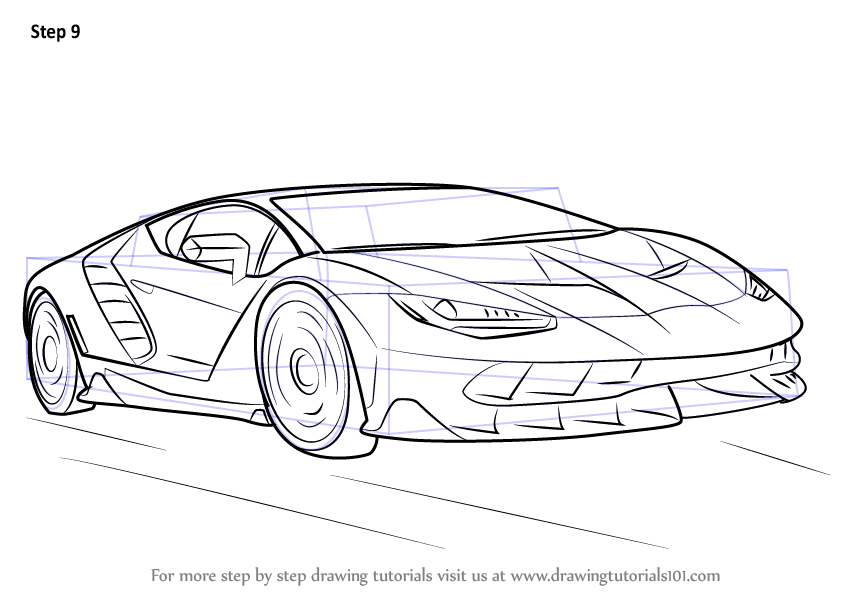 Step by Step How to Draw Lamborghini Centenario ...