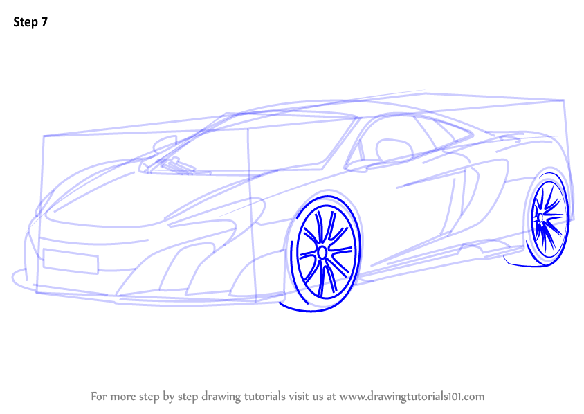 Learn How To Draw Mclaren 675lt Sports Cars Step By Step Drawing Tutorials