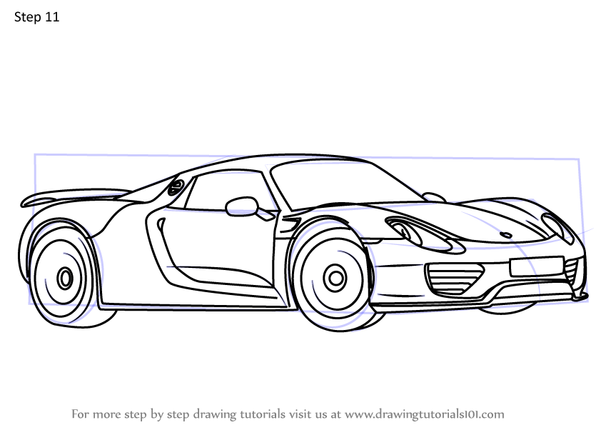 Learn How to Draw a Porsche 918 Spyder (Sports Cars) Step ...