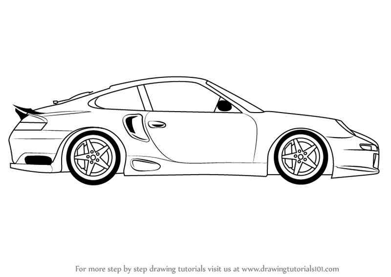 Learn How To Draw A Porsche Car Side View Sports Cars