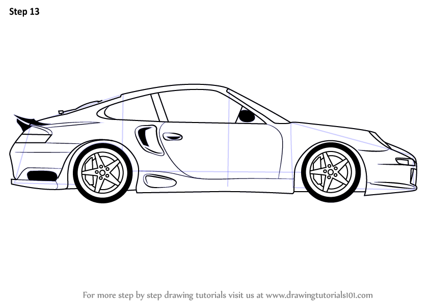 Classroom door with window - Learn How To Draw A Porsche Car Side View Sports Cars Step By Step
