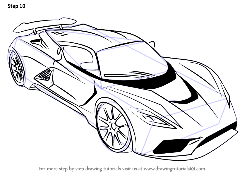 Learn How To Draw Venom F5 Sports Cars Step By Step Drawing Tutorials