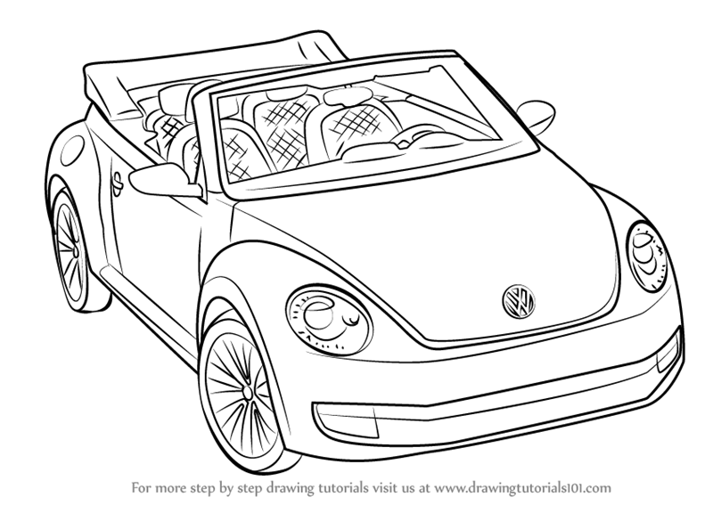 how to draw volkswagen beetle convertible