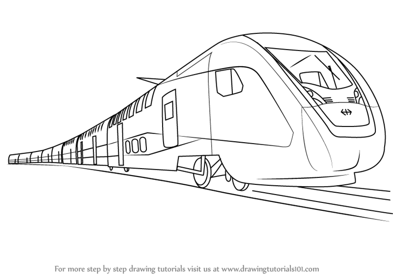 Learn How to Draw an Electric Train (Trains) Step by Step : Drawing ... How To Draw A Train For Kids Step By Step