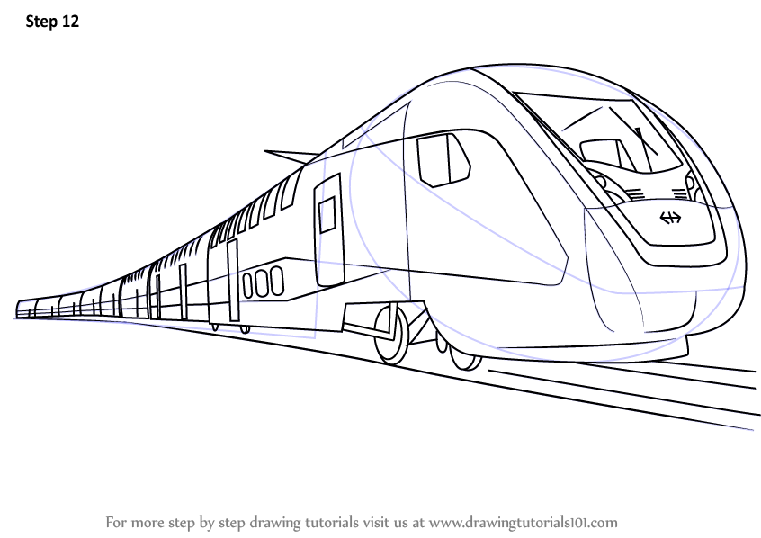 step by step how to draw an electric train