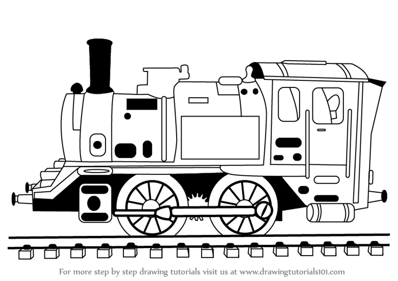 learn how to draw locomotive steam engine  trains  step by