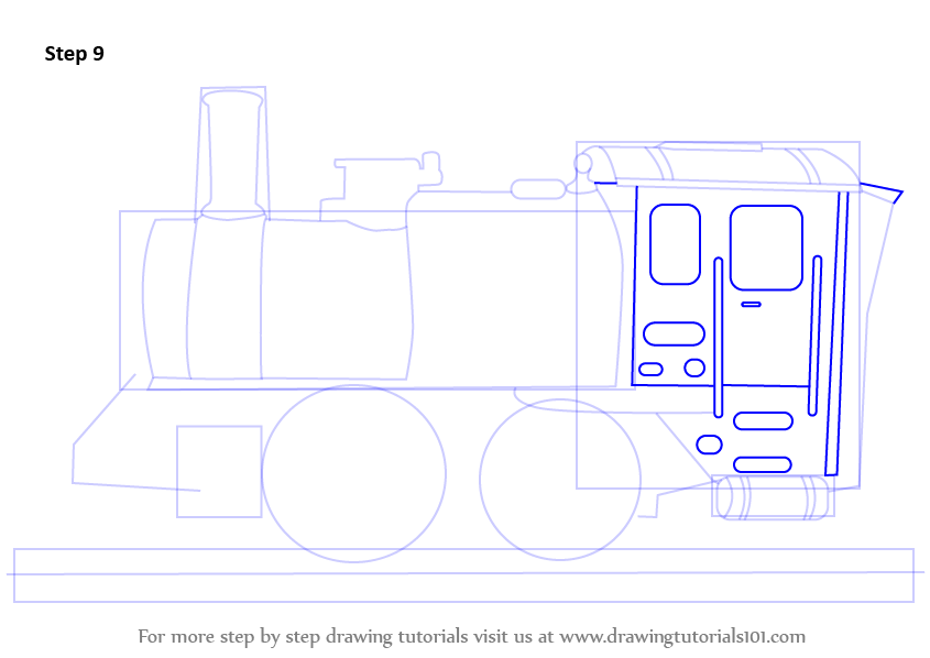 how to draw an engine step by step
