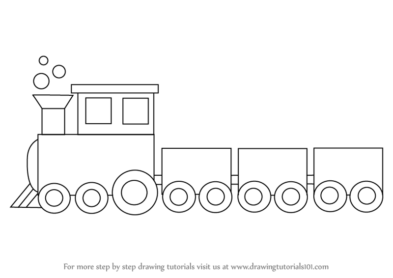 Line Drawing Train : Learn how to draw a train for kids trains step by