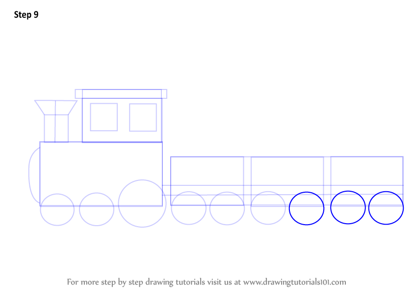 how to draw a train step by step