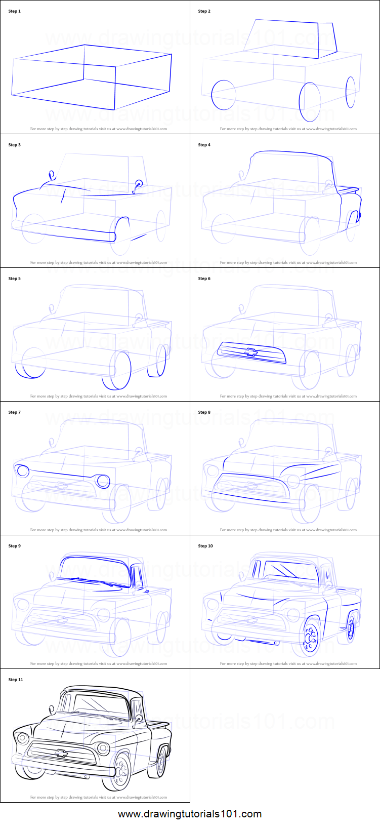 Uncategorized How To Draw A Truck Step By Step how to draw a 1955 chevy truck printable step by drawing sheet drawingtutorials101 com