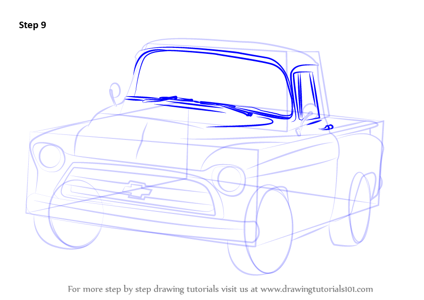 step by step how to draw a 1955 chevy truck. Black Bedroom Furniture Sets. Home Design Ideas