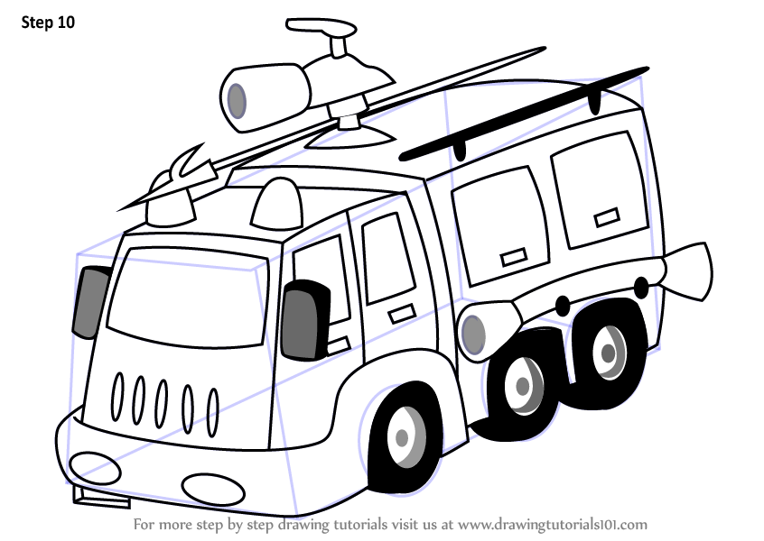learn how to draw a fire fighter truck  trucks  step by
