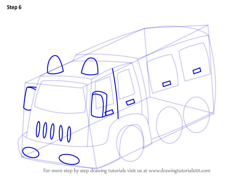 how to draw a simple fire truck step by step
