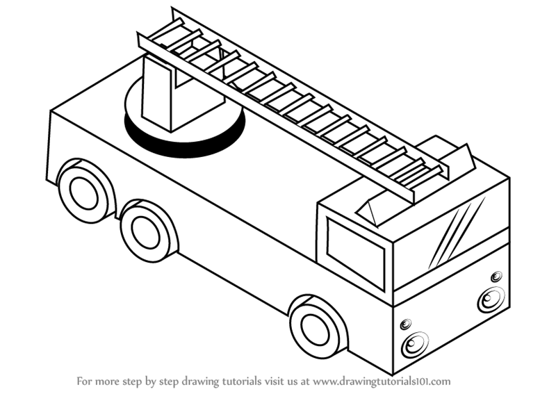 learn how to draw fire truck with ladder trucks step by step drawing tutorials