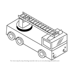 learn how to draw fire truck with ladder trucks step by step