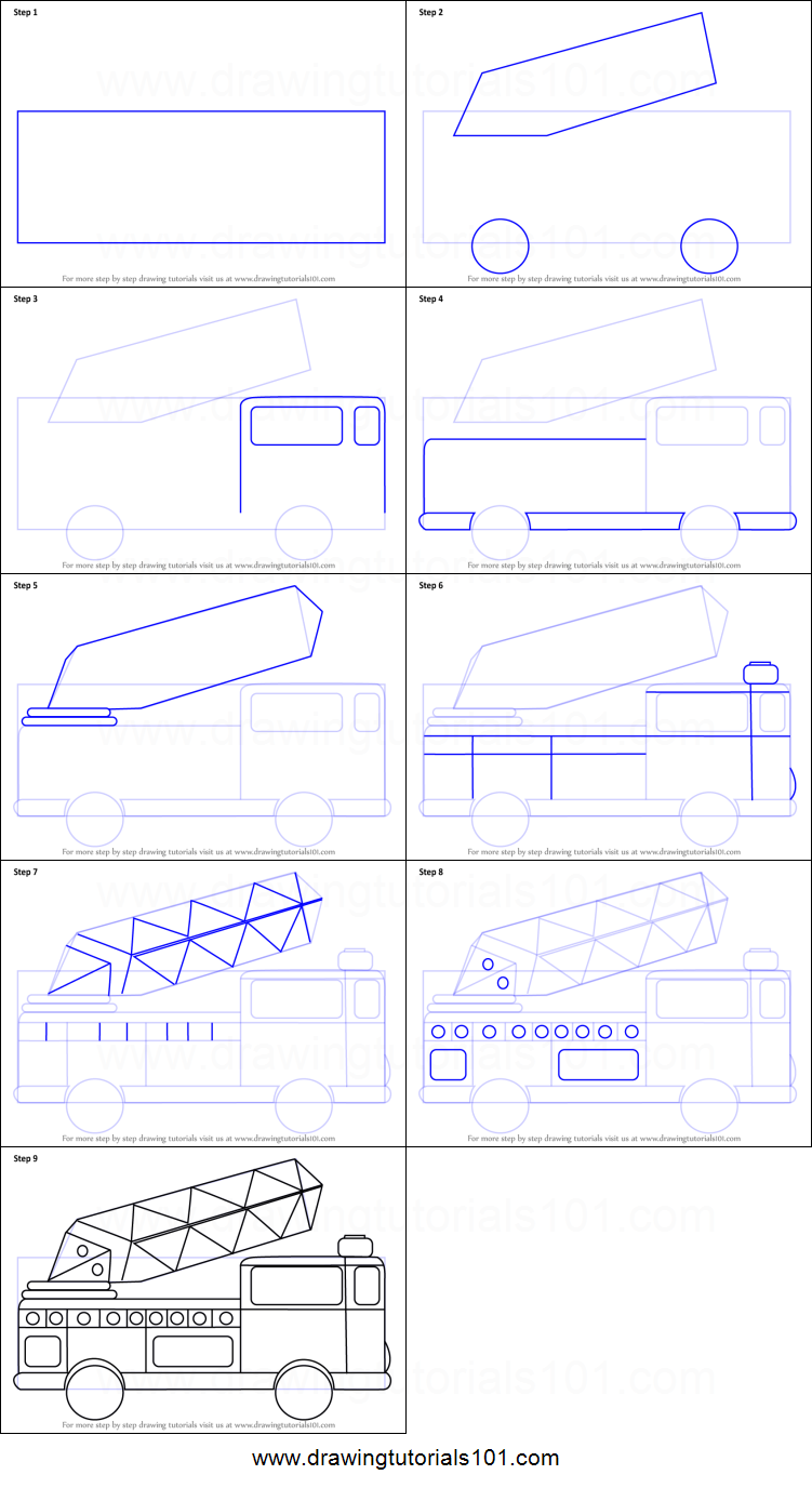 how to draw firetruck for kids printable step by step drawing sheet drawingtutorials101com