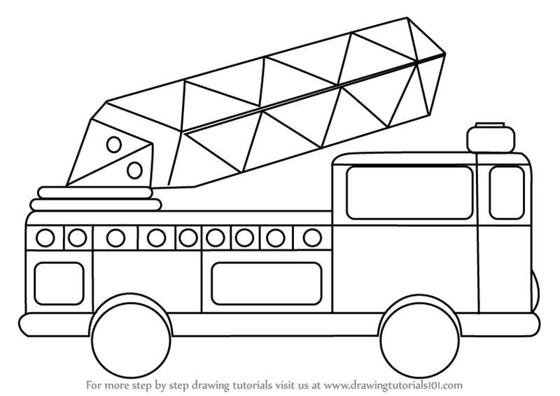 learn how to draw firetruck for kids trucks step by step drawing