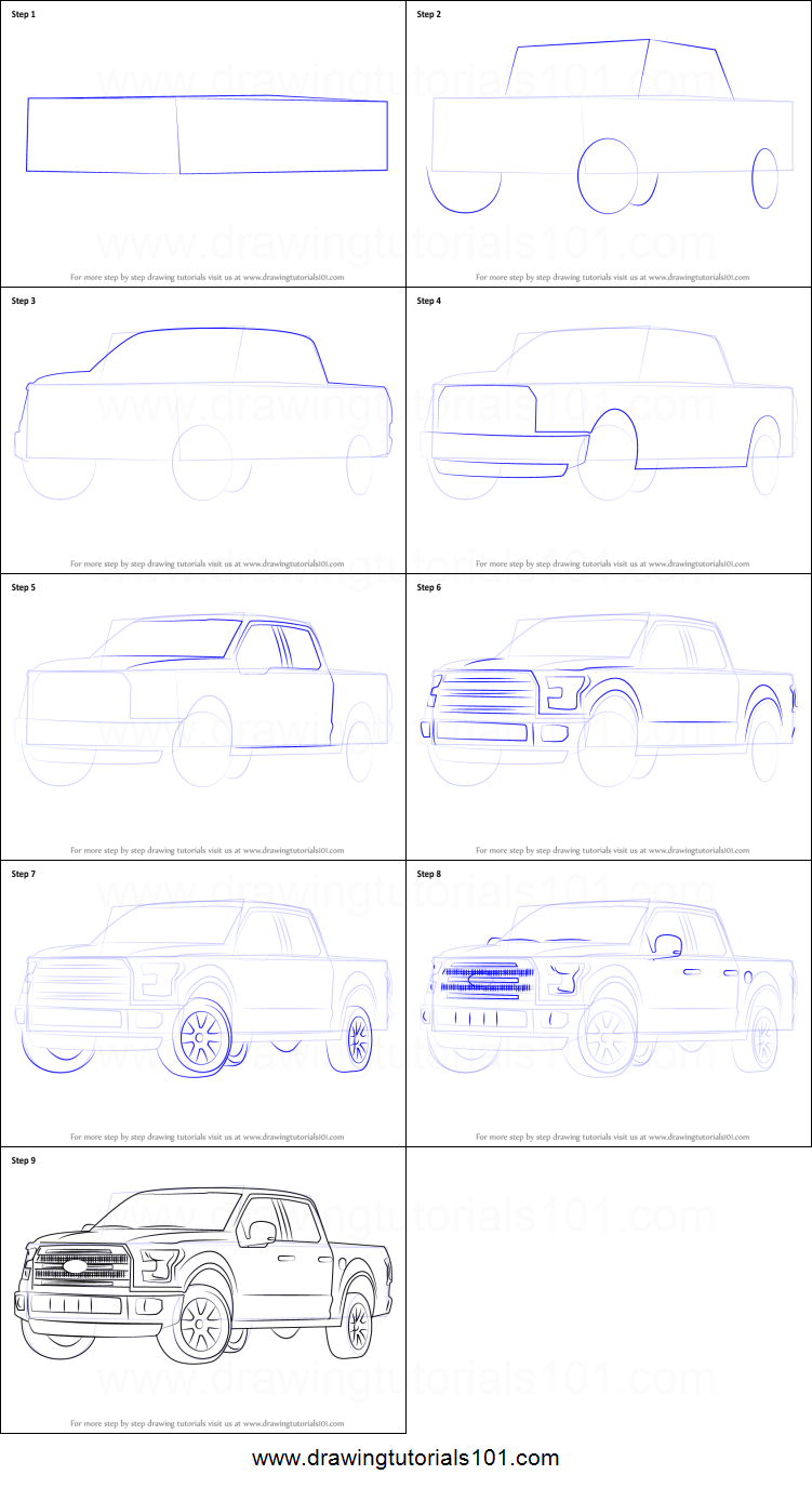 Uncategorized How To Draw A Truck Step By Step how to draw ford f 150 truck printable step by drawing sheet drawingtutorials101 com
