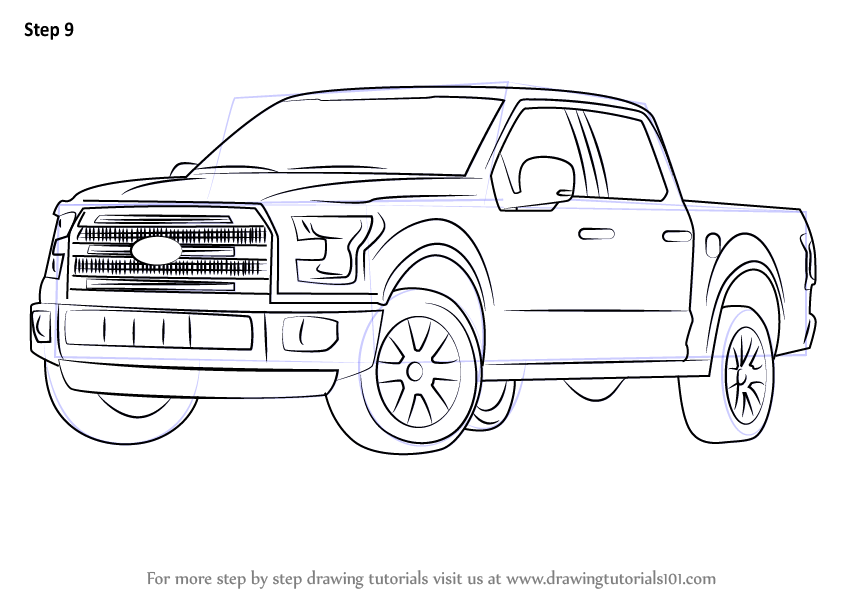 Lifted 2015 F150 >> Learn How to Draw Ford F-150 Truck (Trucks) Step by Step ...