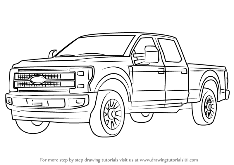 learn how to draw ford f350  trucks  step by step
