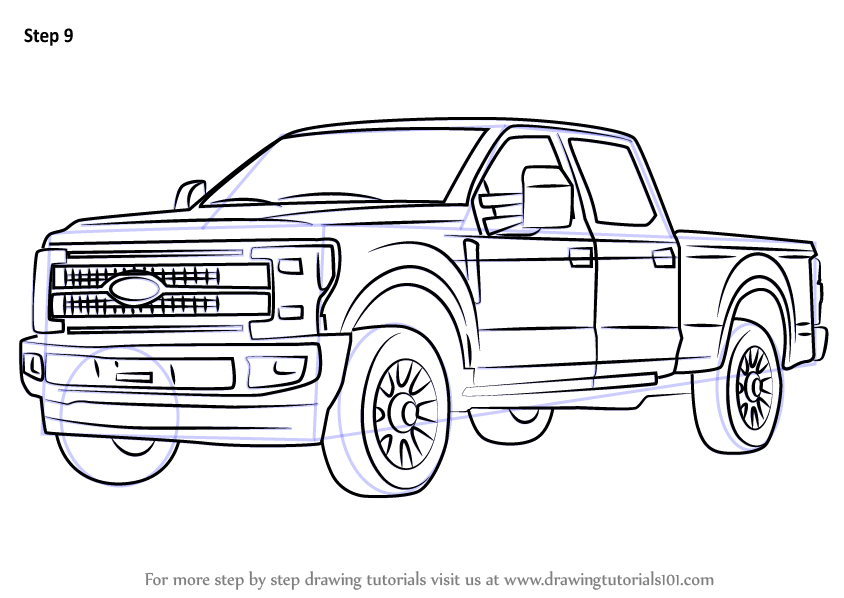 learn how to draw ford f350  trucks  step by step   drawing tutorials