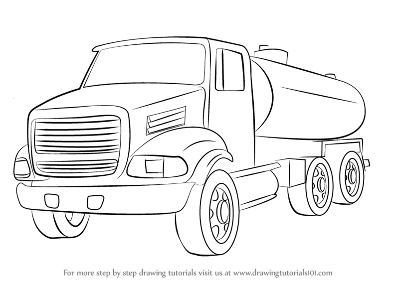 Learn How To Draw A Gasoline Truck Trucks Step By Step