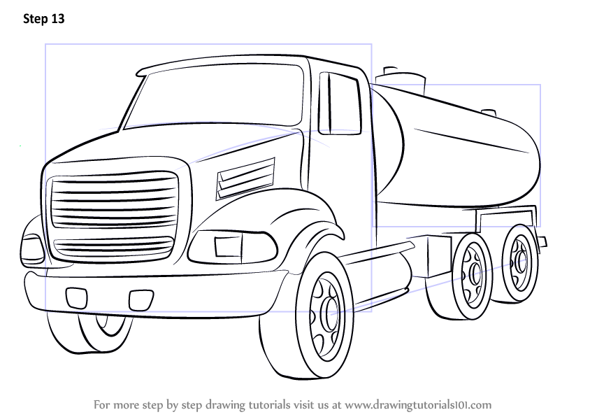 step by step how to draw a gasoline truck