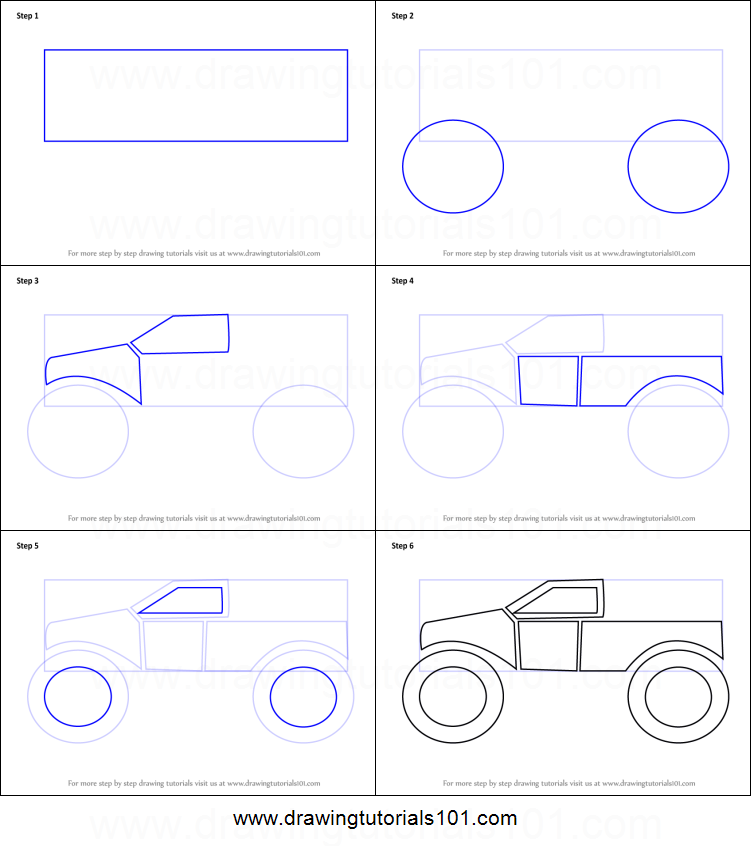 how to draw a monster truck for kids printable step by