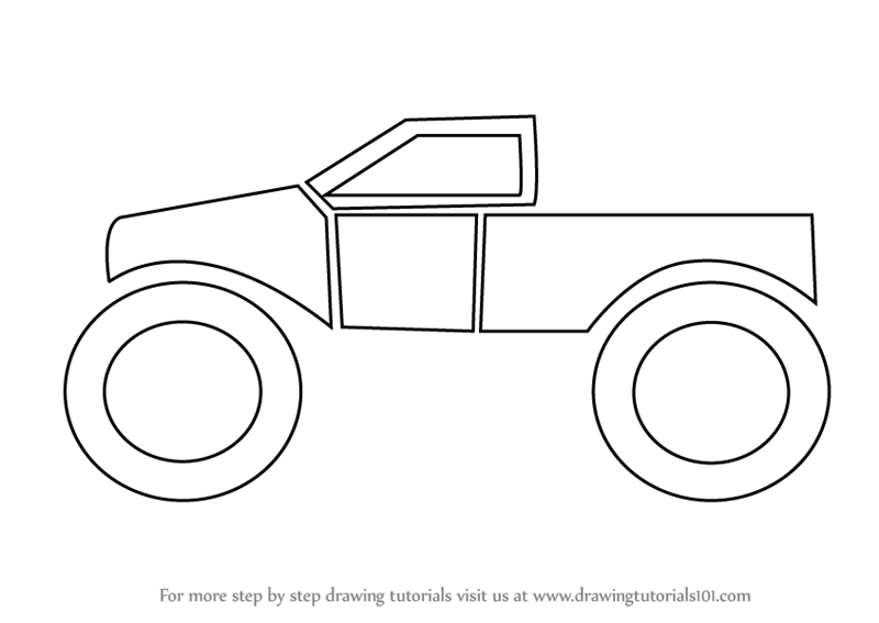 learn how to draw a monster truck for kids trucks step