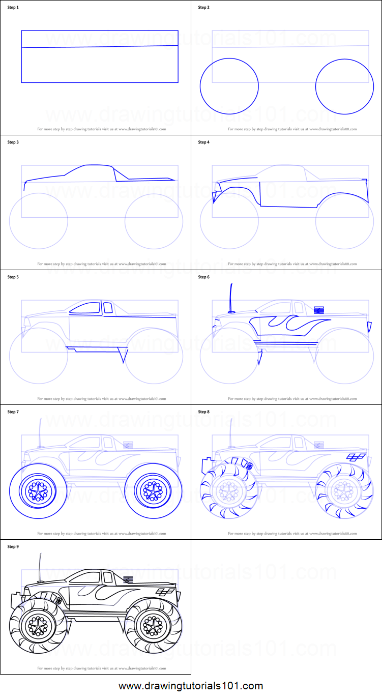 how to draw a monster truck printable step by step drawing sheet