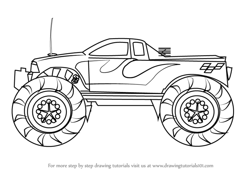 Learn How To Draw A Monster Truck Trucks Step By Step Drawing Tutorials
