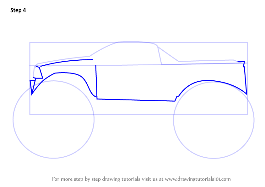 Learn How To Draw A Monster Truck Trucks Step By Step