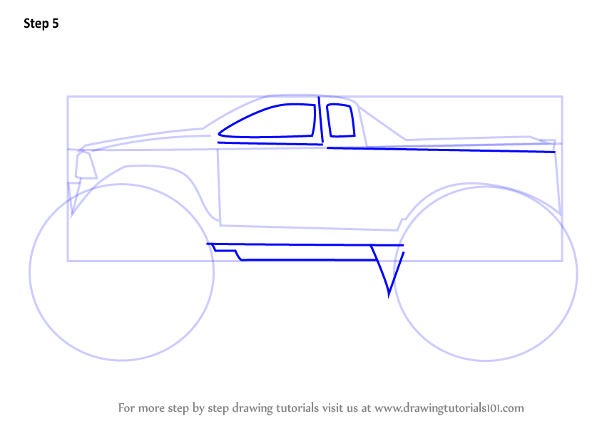 how to draw a monster truck for beginners