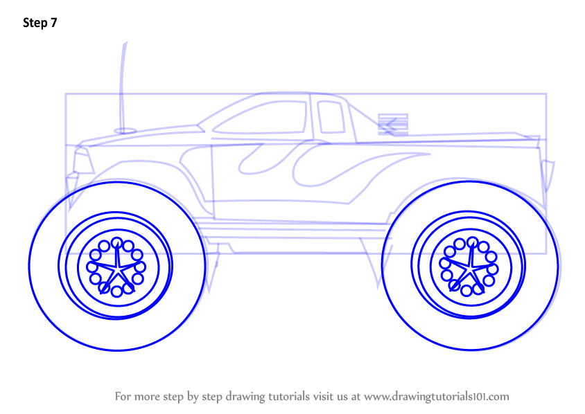 How to Draw a Monster Truck Step by Step - DrawingNow