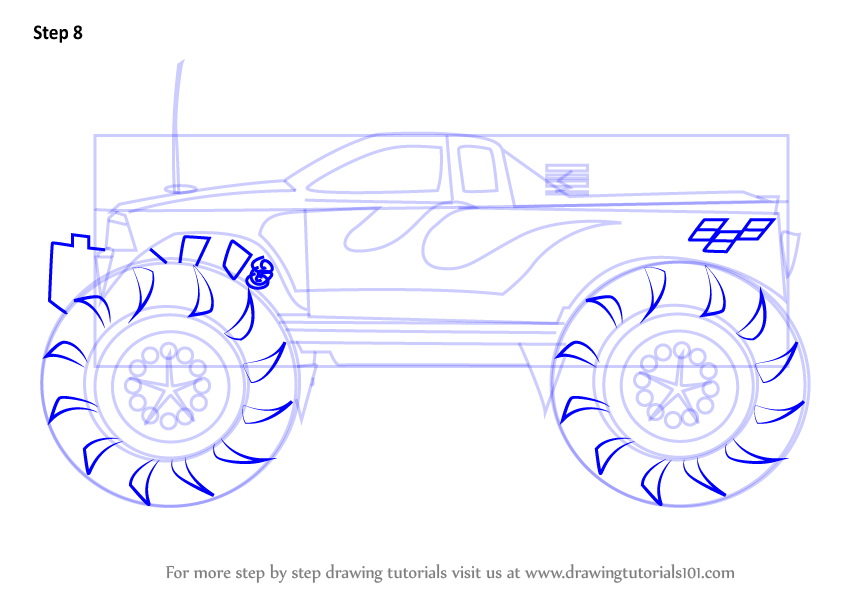 Learn How to Draw a Monster Truck (Trucks) Step by Step ...