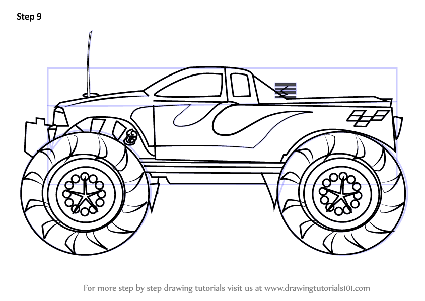 learn how to draw a monster truck trucks step by step drawing tutorials. Black Bedroom Furniture Sets. Home Design Ideas