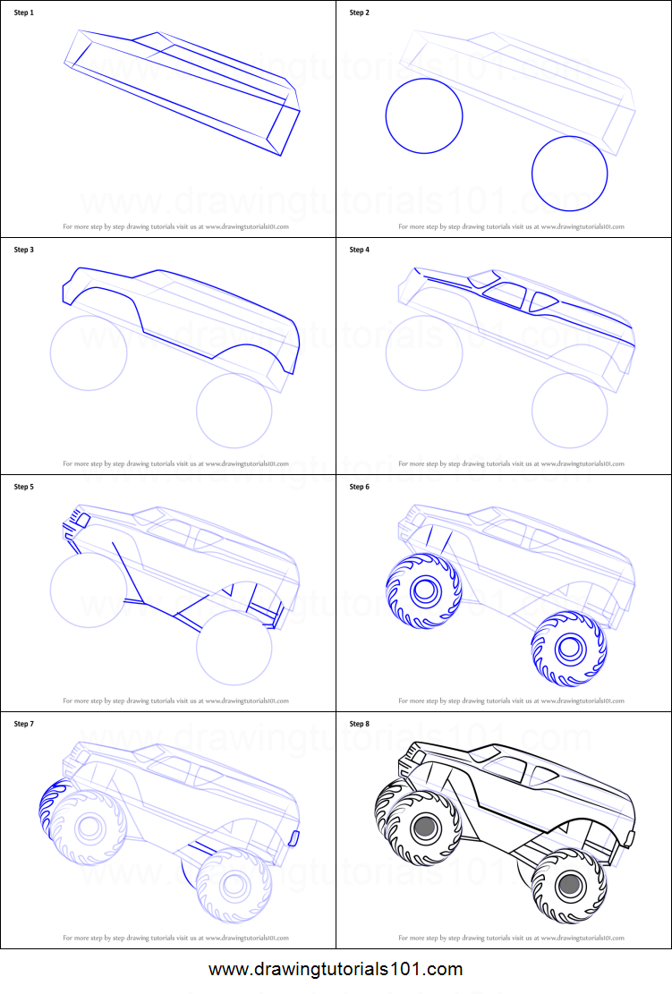 How To Draw A Monster Truck Step By Galleryhipcom