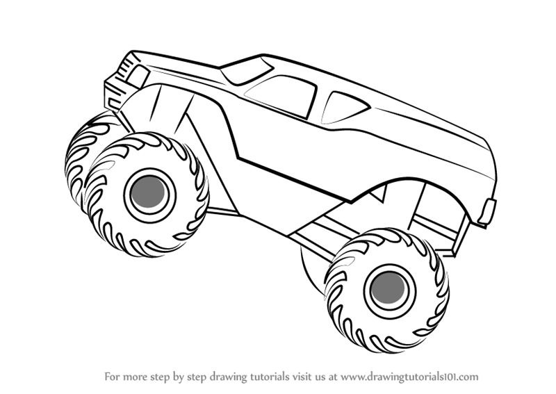 learn how to draw monstertruck jump trucks step by step