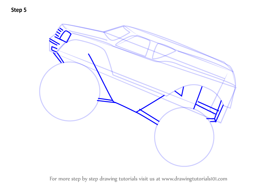 learn how to draw monstertruck jump  trucks  step by step   drawing tutorials