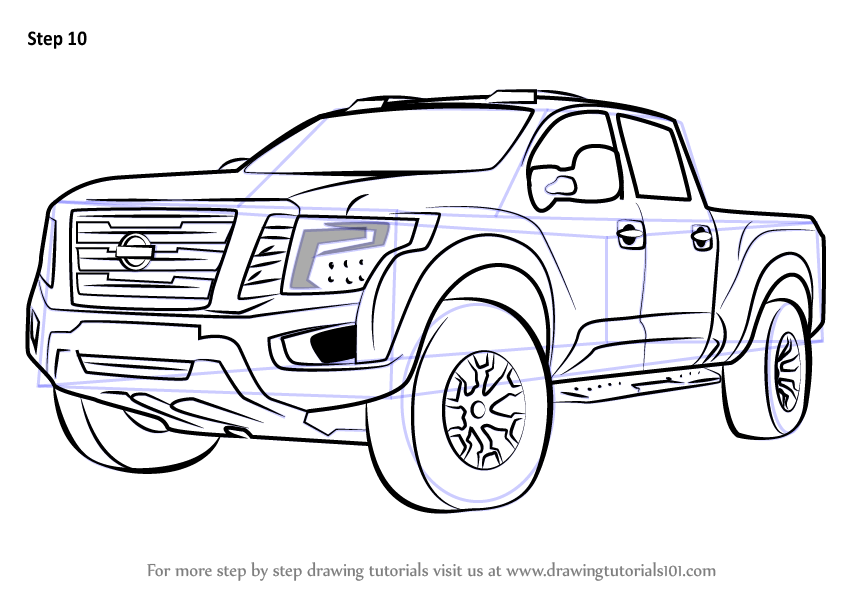 learn how to draw nissan titan warrior truck trucks step by step drawing tutorials. Black Bedroom Furniture Sets. Home Design Ideas