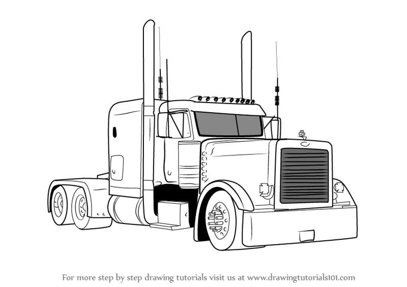 How To Draw Peterbilt 379 Truck