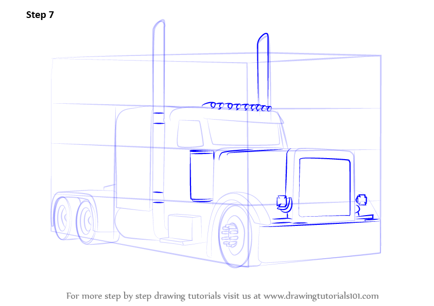 Peterbilt semi truck drawings