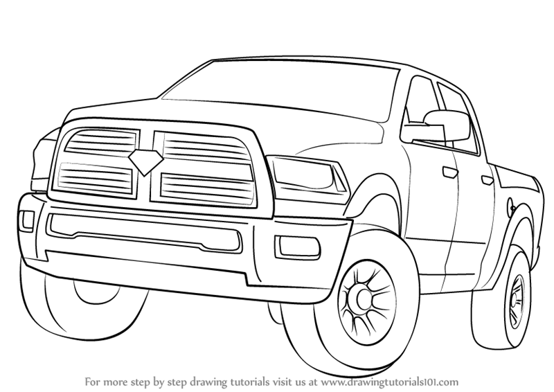 learn how to draw a ram truck trucks step by step drawing tutorials