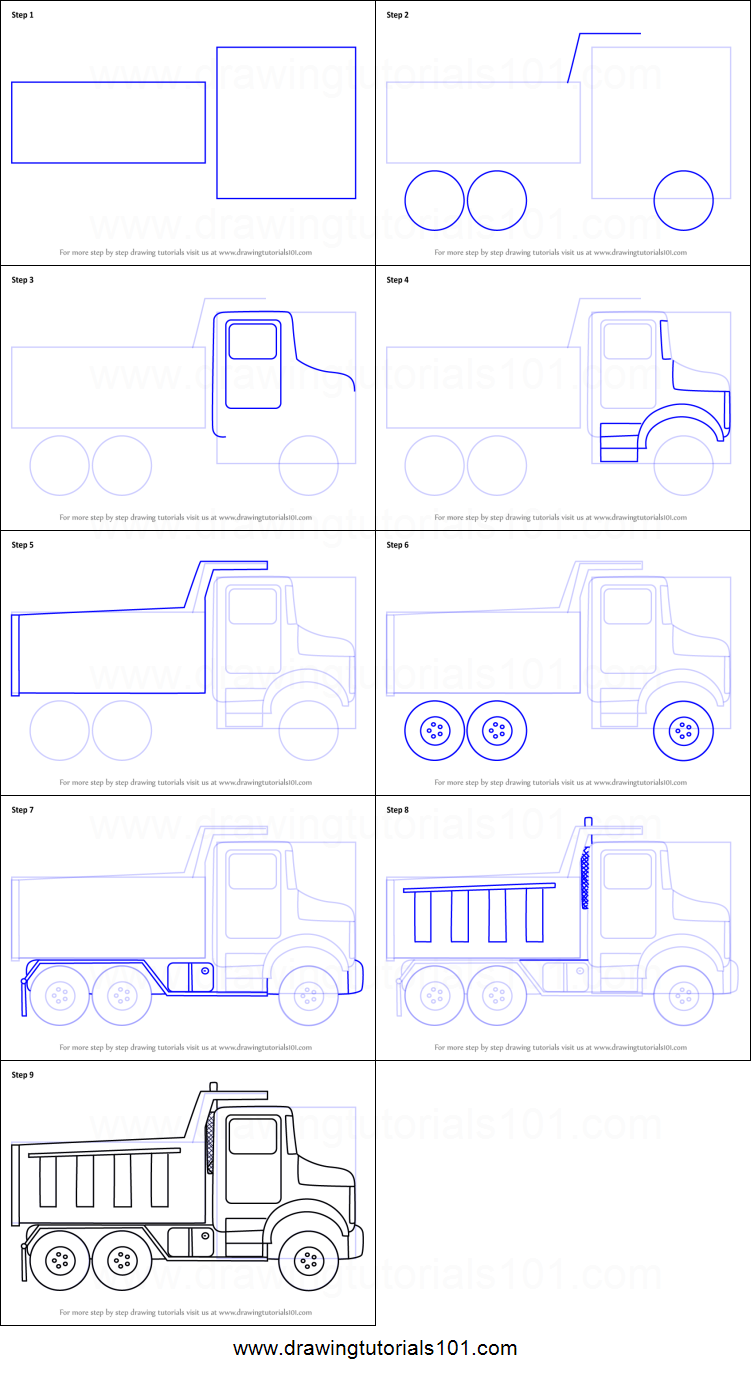 How To Draw Simple Dump Truck Printable Step By Drawing Sheet DrawingTutorials101