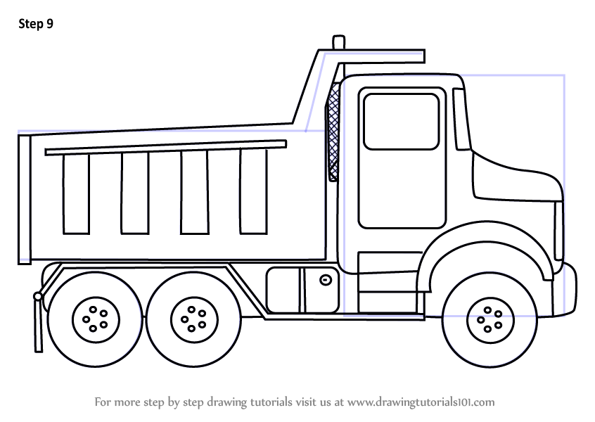 Step by Step How to Draw Simple Dump Truck ...